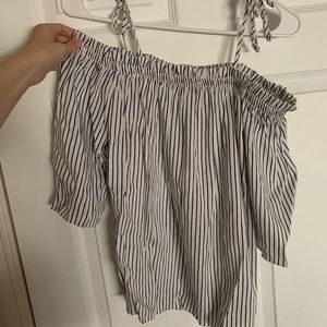 Off The Shoulder Tie Top Striped